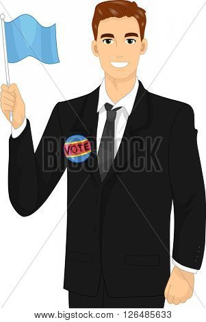 Illustration of a Male Political Candidate Waving a Flag