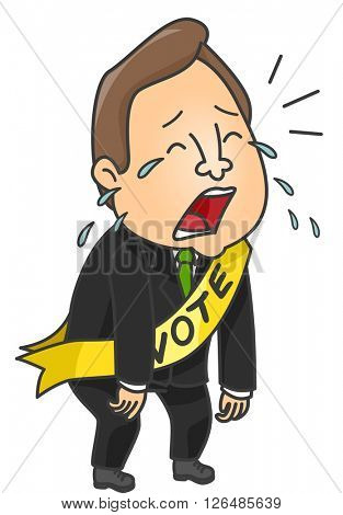 Illustration of a Male Political Candidate Crying After Losing