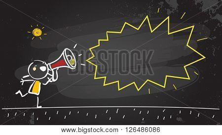 Kid shouting, communicating in a megaphone, news announcement. Vector illustration, chalk on blackboard doodle, hand drawn sketch, scribble.