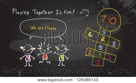 Children, group of kids, playing together outdoors hopscotch game. Vector illustration, chalk on blackboard doodle, hand drawn sketch, scribble.
