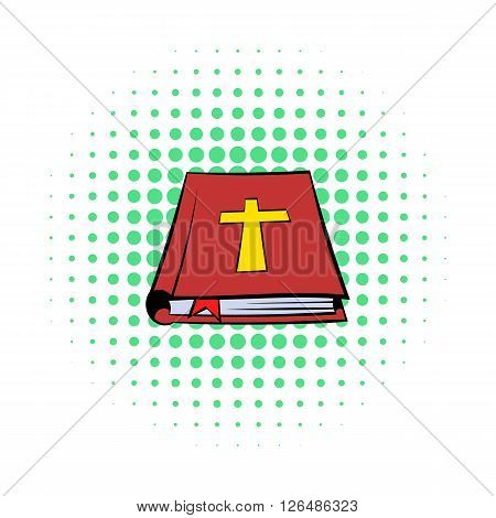 Bible book icon in comics style on a white background