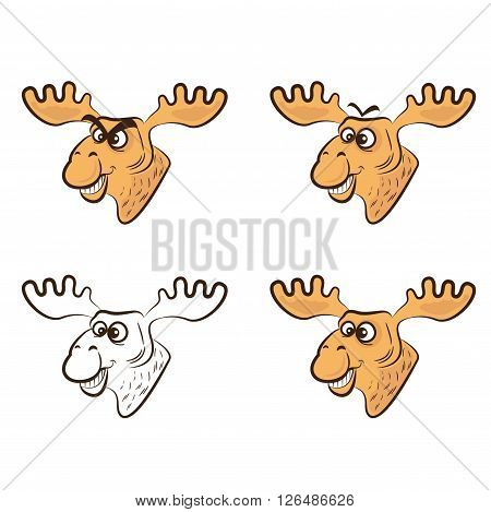 Vector Illustration of Cartoon elk. Concept of graphic clip art work