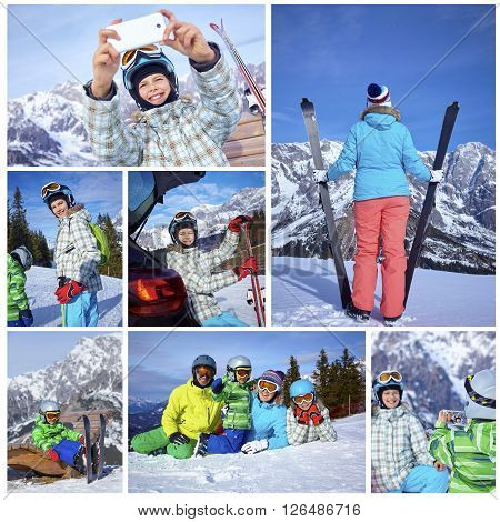 Collage of images Family On Ski Holiday In Mountains