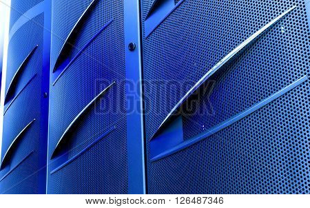 door mainframe in modern data center blur closeup with motion blur