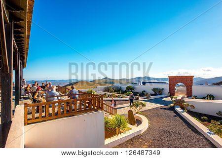 BETANCURIA, FUERTEVENTURA ISLAND, SPAIN - SIRCA JANUARY 2016: Entrance area at Morro Velosa viewpoint on Fuerteventura island