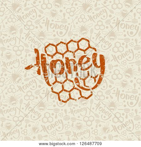 Natural Honey Seamless Pattern And Emblem