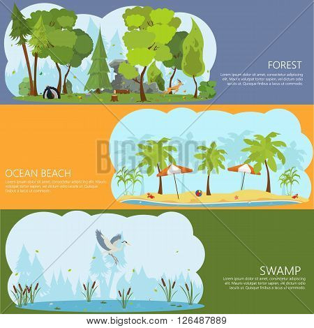 horizontal banners on the theme of landscapes of nature. Forest Lake. ocean shore. City Park. shore of a tropical island. swamp forest. vector.