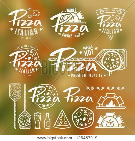 Set of pizzeria labels badges and design elements. White print on blurred background