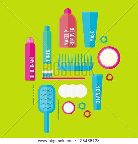 Vector beauty products illustration set in flat style. Icons of different bottles for cosmetics face cream and eye cream tooth brush hair brush deodorant.  Washing hygiene.