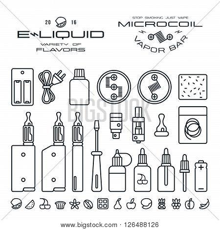 Vape Labels, E-cigarette And Fruit Flavor Icons