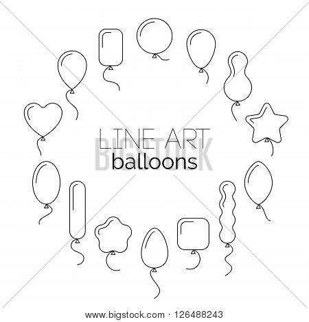 Vector thin line icon set of balloons of different shapes. Pictogram collection of line art icons of balloons. Black air balls line silhouettes with helium flying up.