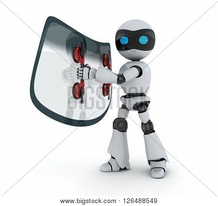Car glass and robot on white background (done in 3d)