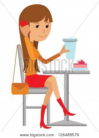 Vector illustration of a coffee break on white background