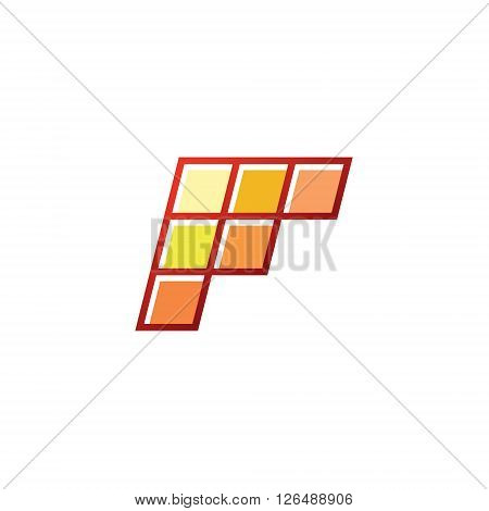F Letter the form of geometric abstraction with elements of modern design logo slope minimalism art