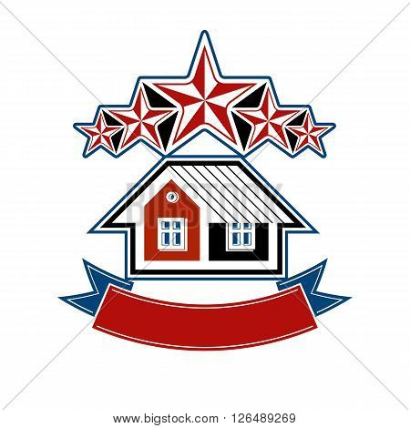 Simple house with five classic stars and curvy ribbon.