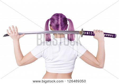 Bad girl holding katana, isolated on white background.