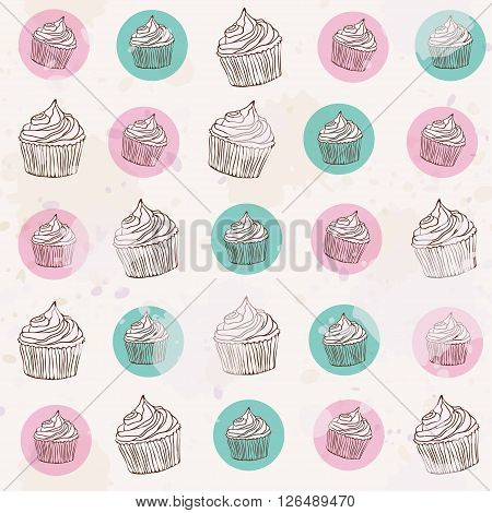 cute light dingy pattern with cupcakes on white background