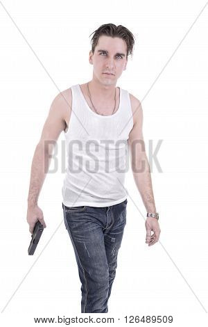Bad guy holding handgun, isolated on white background.