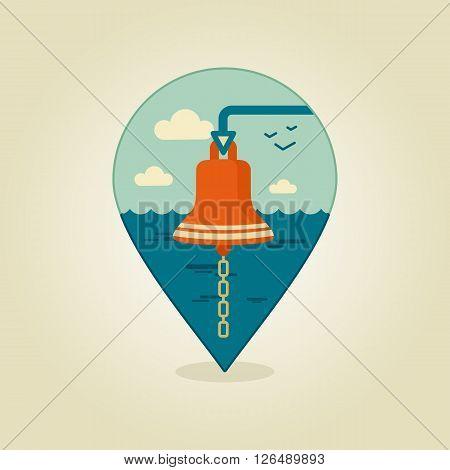 Bell marine flat pin map icon. Marine Sea eps 10