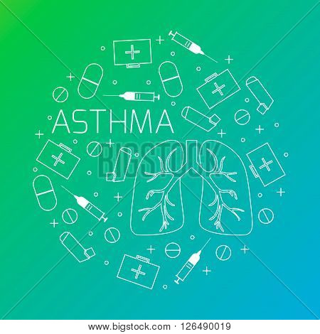 Asthma concept. Asthma treatment symbols-inhalers pills syringes and first aid boxes. Asthma awareness sign made in line style. Vector illustration.