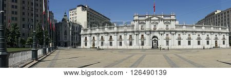 SANTIAGO, CHILE - MARCH 25, 2016: La Moneda Palace in Santiago, Capital of Chile. La Moneda hosts official offices of the President of Chile.