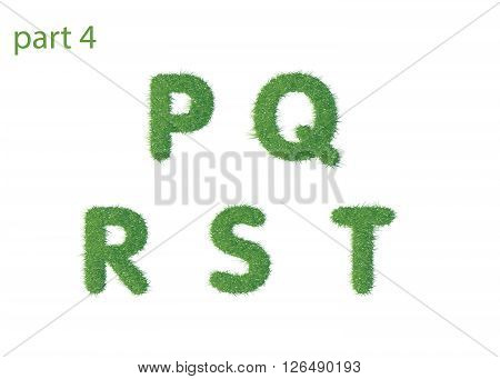 Capital letter P Q R S T texture green grass vector illustration