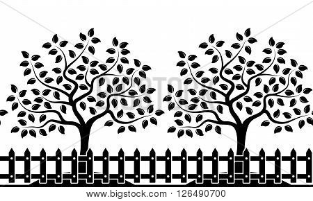 vector seamless border with trees behind picket fence isolated on white background