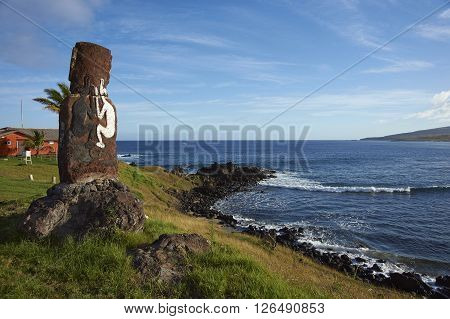 Lone moai statue on the coast of Rapa Nui (Easter Island) in the capital Hanga Roa.