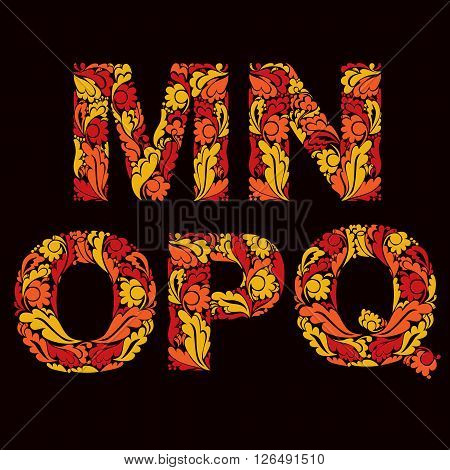 Fiery Autumn Style Vector Font, Typeset With Eco Floral Ornament. M, N, O,p, Q.