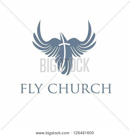 Christian concept bird and cross. Concept of graphic clip art work