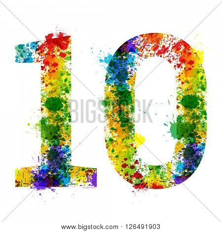 Color Paint Splashes. Gradient Vector Font Symbols. Watercolor Paint Splash Designer Decoration Alphabet. Color ink Number Symbols Isolated on a White Background. Paint Splash Number 10