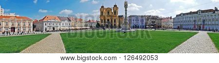TIMISOARA ROMANIA-APRIL 15 2016: Panoramic view with historical buildings in Union Square Timisoara Romania.