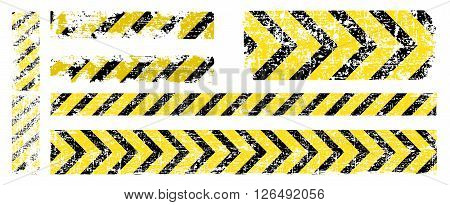 different vector worn yellow black stripe warning of the dangers of