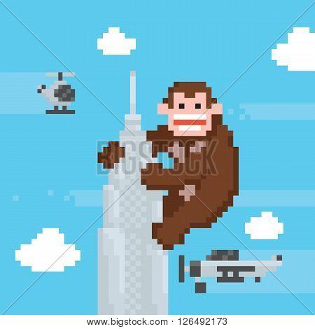 Gorilla on a top of skyscraper old school pixel art vector illustration