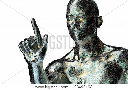 Electronic Man Or Male Cyborg On Binary Background