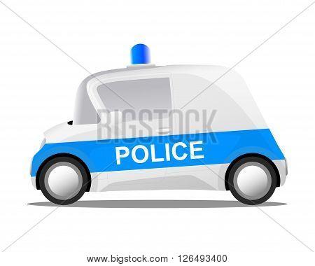 white cartoon police car cop vector illustration