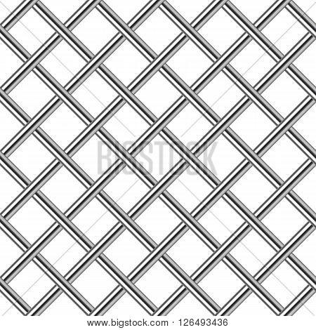 chrome metal grid diagonal seamless background vector illustration