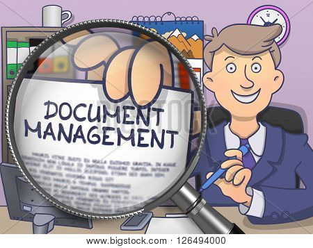 Document Management on Paper in Businessman's Hand through Magnifier to Illustrate a Business Concept. Multicolor Doodle Style Illustration.