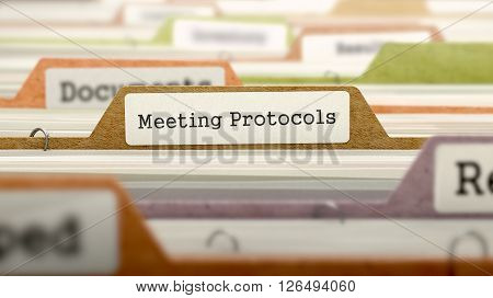 Meeting Protocols - Folder Register Name in Directory. Colored, Blurred Image. Closeup View. 3D Render.