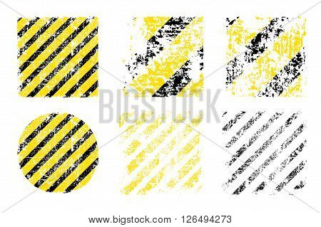 different vector worn yellow black stripes square and round shapes of the danger warning