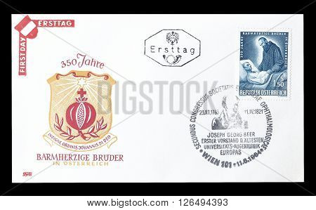 AUSTRIA - CIRCA 1964 : Cancelled First Day Cover letter printed by Austria, that shows Brothers of mercy.