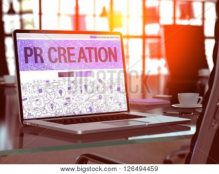 PR Creation Concept. Closeup Landing Page on Laptop Screen in Doodle Design Style. On Background of Comfortable Working Place in Modern Office. Blurred, Toned Image. 3D Render.