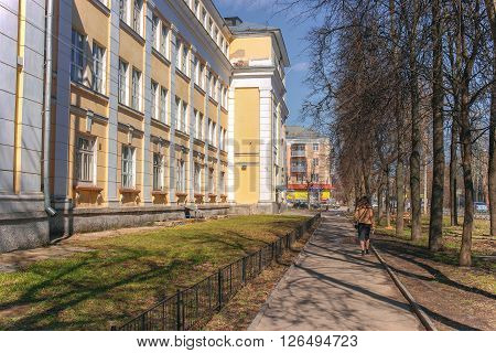 IVANOVO, RUSSIA - APRIL, 17. Building of Ivanov?state university. City of Ivanovo, Russian Federation. It is removed on April 17, 2016.