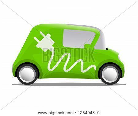 electro car cartoon safe ecology vector illustration