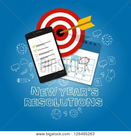 new year's resolutions illustration vector flat target task list calendar blue