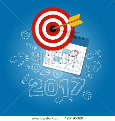 2017 new year's resolutions illustration vector flat target calendar blue