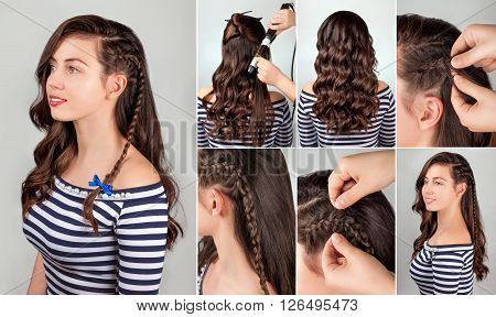 one-side hairstyle on curly hair tutorial. Hairstyle for long hair. Sea style.
