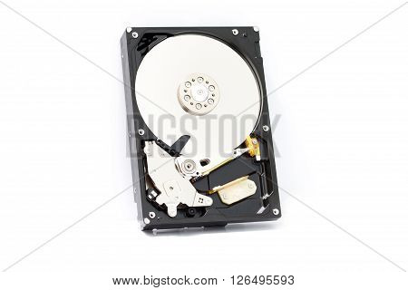 Close up inside of Harddisk on white background