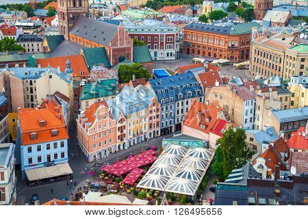 Riga, Latvia - 24-august-2015: View On The Roofs Of Old Houses In Old City Of Riga, Latvia.