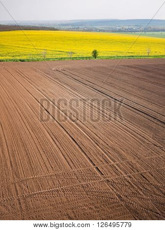 High angle view on the tractor traces on the machined field